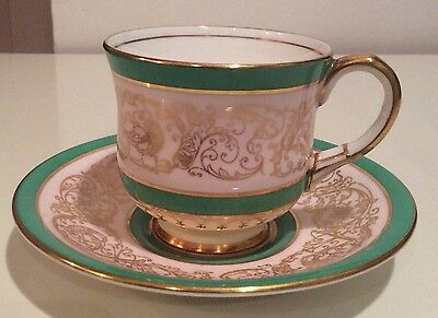Vintage Aynsley coffee cup and saucer 1930s Green pink gold