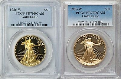 1986 & 1988 W Gold Eagle Proof $50 Pcgs Pr70 First Strike 2 Coin Set