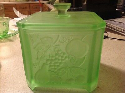 Art Deco Green glass Biscuit Barrel