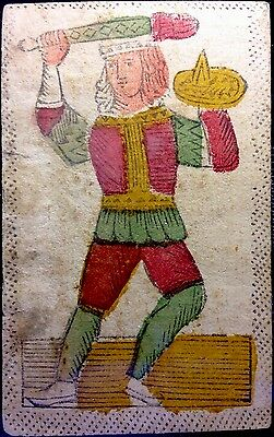 c1750 Authentic Minor Arcana Tarot Playing Cards Woodcut Painted Italy Single