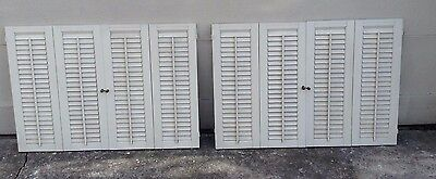 "26 5/8"" T x 38 3/8"" VTG Colonial Wood Interior Louver Plantation Window Shutters"