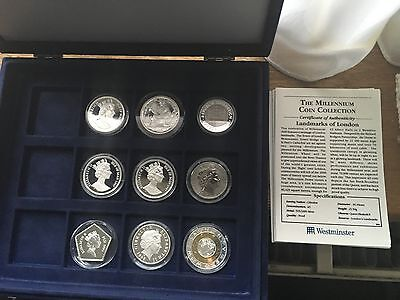 Boxed collection of 9 different Proof issues to commemorate the new Millennium