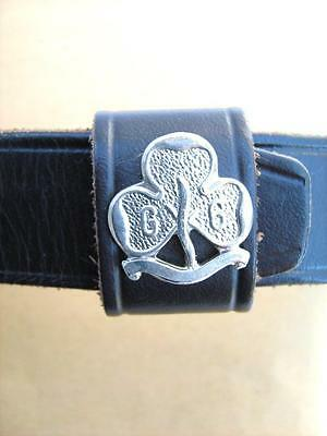 """Leather Girl Guide BELT  with purse  Scouting Guiding    20"""" to 26"""""""