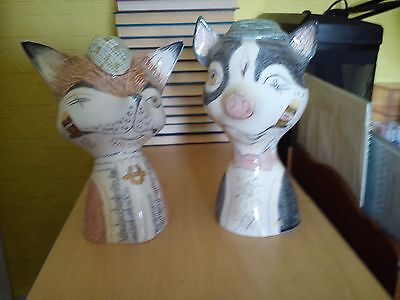 Beswick Comical Fox Money Box's   ((Yes The Pair )) Very Rare Not Often Seen