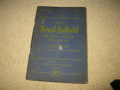 Royal Enfield Motorcycle Spare & Replacement Parts List - Ensign II III