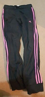 Girls Adidas Black and Pink Tracksuit Bottoms  aged 7-8