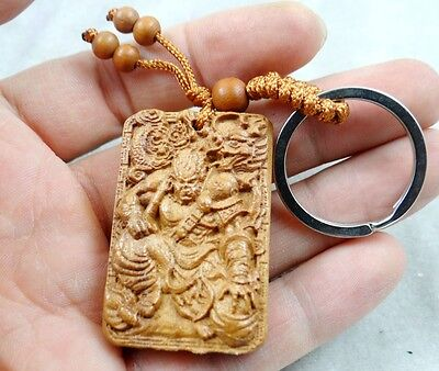 45*30MM Hand-carved Dragon Lohan Wooden Crafts, Key Chain, Key Ring D10