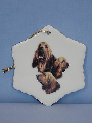 Bloodhound Dog Porcelain Snowflake Christmas Tree Ornament Fired 3View Decal L-3