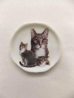 Grey Tabby Cat 3 View Porcelain Plate Magnet Fired Decal- 45