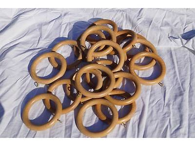 65mm DIAMETER WOODEN CURTAIN POLE RINGS