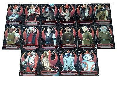 Star Wars The Force Awakens Series 2 Heroes of the Resistance 16 Chase Card Set