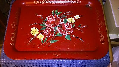 Pretty Vintage Antique Red Hand Painted Tole Toleware Floral Metal Tray