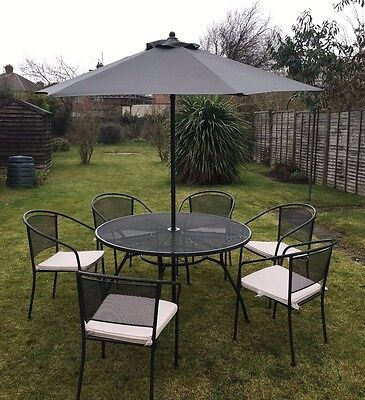 Metal Outdoor Dining Set/Garden Furniture - Round Table, 6 Chairs - Gd Condition