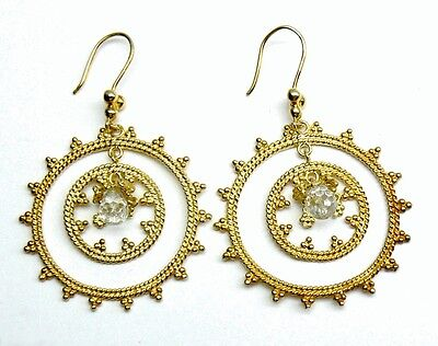 """LARGE Dangle White Crystal drop 18K Gold over SILVER Circle Earrings 2.25"""""""