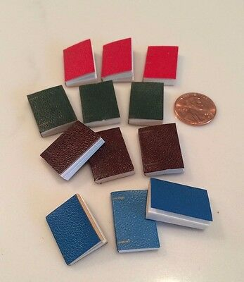 Dollhouse Miniatures Book Set of 12 in 4 Colors Red Green Blue and Brown