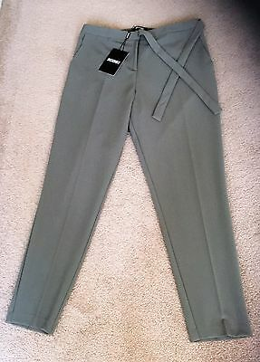Green Slim Leg High Wasted Tailored Trousers Size 14