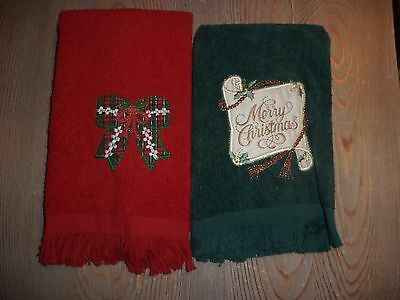 2 Christmas hand towels