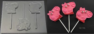 PEPPA PIG FACE Chocolate Soap Candy Lollipop Mold