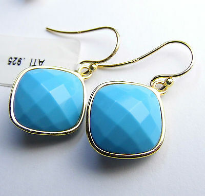 Dangle Turquoise 14K gold over Sterling SILVER Earrings