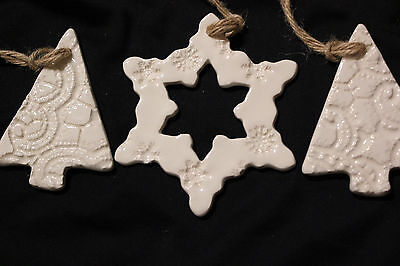 Hand crafted pottery christmas decorations-matching set