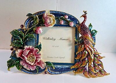 Vntge Ornate ENAMEL & CZECH CRYSTALS PHOTO PICTURE FRAME PEACOCK & FLOWERS 3.5""