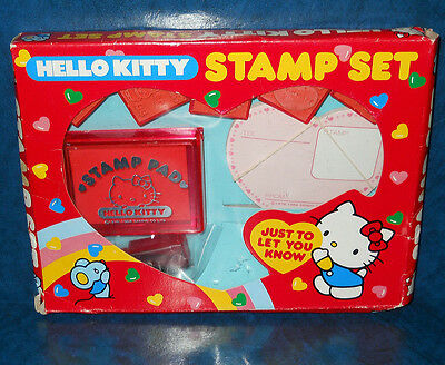 Vintage SANRIO HELLO KITTY 1984 Stamp Set Just To Let You Know NEW in Box
