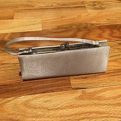 Jessica McClintock Silver Satin Elegant Clutch Purse Handbag