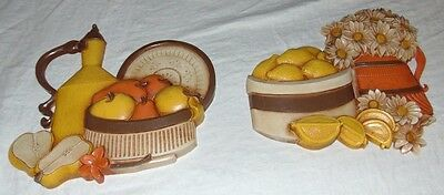 Vintage HOMCO Home Interior #7610 Wall Plaques FRUIT & DAISY Fall Colors SYROCO