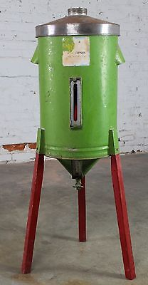 Antique Primitive & Rustic Gravity Cream Separator Can in Green on Red Legs
