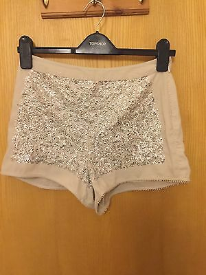 Topshop Cream Sequin Shorts Size 8