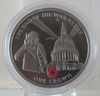 2005 Gibraltar £5 Five Pound End Of The War  Ve Day  Poppy Churchill Coin Unc