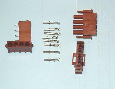 MOLEX 4 Pin Connector Set Cable to PCB, MLX series, 2 complete sets, NEW