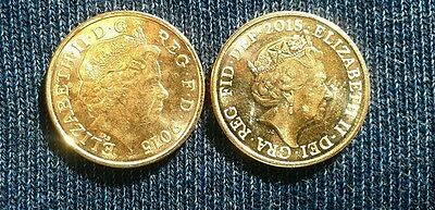 Both Fourth (IRB) & Fifth (JC) Queen Portraits on Pair of 2015 UK Pennies
