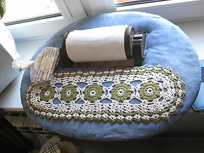 Vintage Bobbin lace making pillow box with 19 bobbins