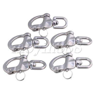5 x Medium 304 Stainless Steel Snap Shackle Quick Release Swivel Bail Rigging