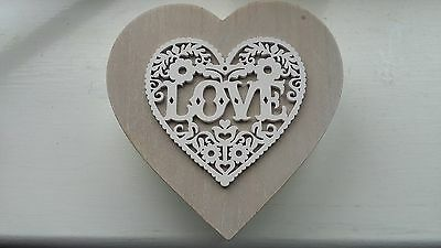 NEW Valentines Heart shaped wooden 'Love' themed box with lid