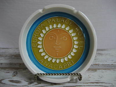 Vintage Ceramic Europa Palace Hotel Anacapri Advertising Ashtray Italy