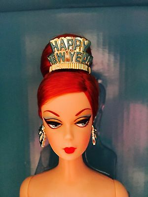 """NRFB Gold Label """"Happy New Year"""" Holiday Hostess Collection Barbie Doll."""
