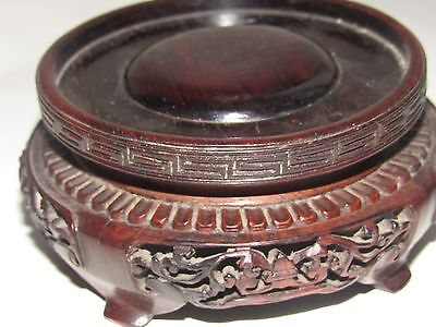 Antique Chinese Japanese Carved Rosewood Pot Vase Bowl Stand Pair Job Lot