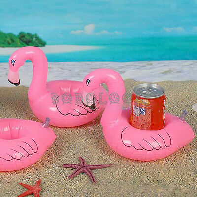 Fun Flamingo Floating Inflatable Drink Can Holder Pool Swimming Bath Toy Party