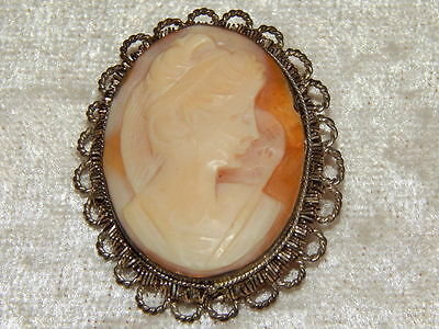 Vintage - Antique 800 Silver Carved Shell Cameo Brooch Pin Pendant!