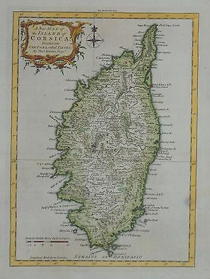 A New Map Of The Island Of Corsica By Thomas Kitchin 1762.