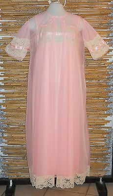 Womens Vintage TOSCA Lingerie Peignoir Pink Chiffon Nightgown & Robe Size M
