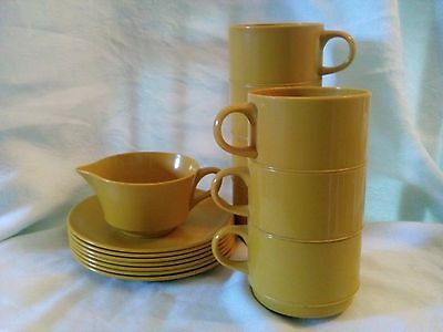 15 Pieces ALLIED CHEMICAL Yellow Melmac Melamine Dishes-  Mugs/Saucers/Creamer