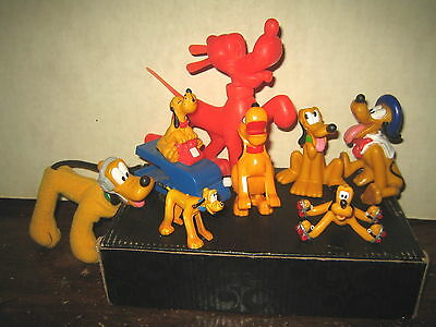 "8 Rare Htf Disney's Pluto Collectable Figure's Lot "" Sold As Is """