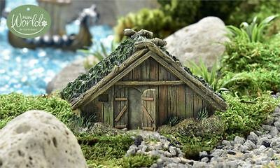 Miniature Dollhouse FAIRY GARDEN - Viking Village Wooden House - Accessories