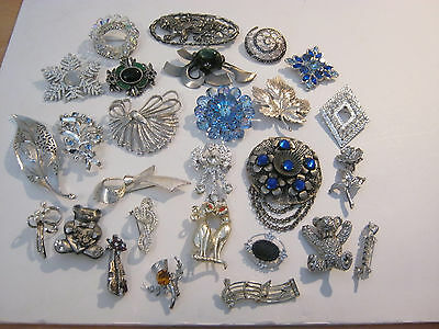 Vintage to now silvertone brooch lot, 27 brooches, lots of rhinestones, wearable