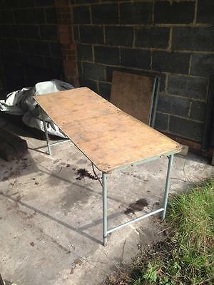 Old Classic Vintage Wooden Folding Table. Decorator's Bench Car Boot Stall Table