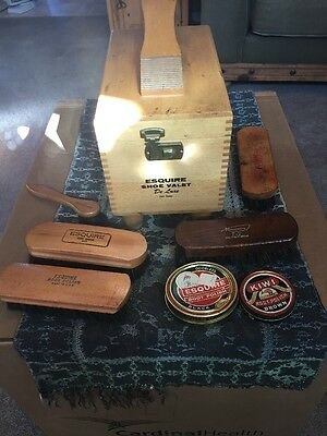 Deluxe Esquire Shoe Valet Shoe Shine Box With Brushes And Polish