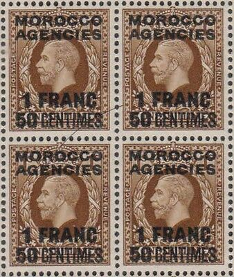 Block of 4  Morocco Agencies GV stamps 1F 50c  mnh